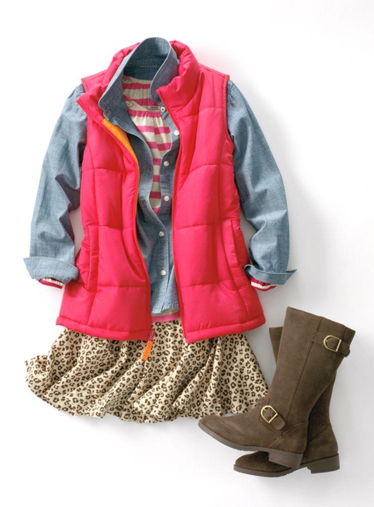 Girls' Cheetah Twirl Skort, Down Vest, Chambray Shirt, Boots, Stripes   Lands' End