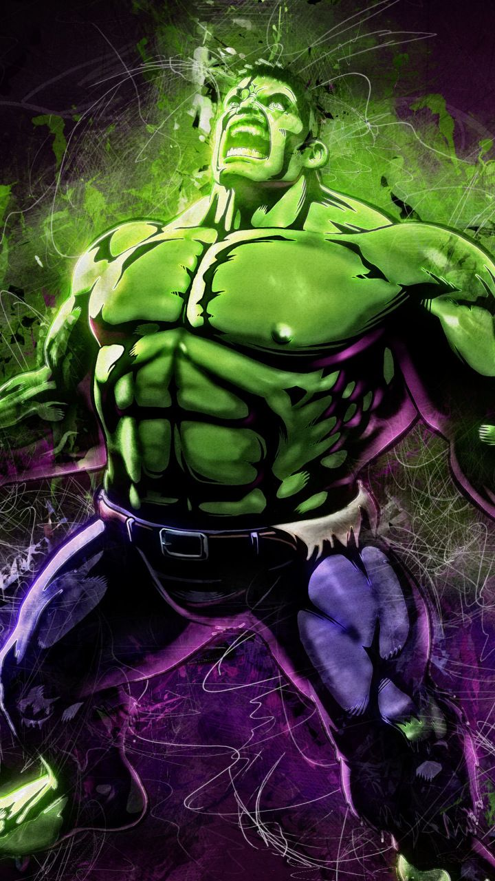 Angry hulk, marvel, superhero, fan art, 720x1280 wallpaper