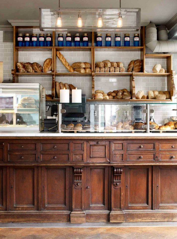 United Bakeries | Oslo, Norway - like the old counter, display cases, tiling behind shelving