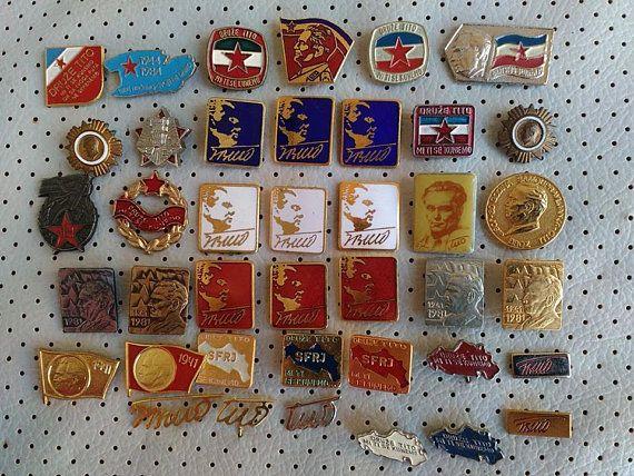 65d409e41940 Josip Broz Tito SFRJ Yugoslavia Communist Vintage Pins Badges Collection  Enamel Badges Originals with Flags and