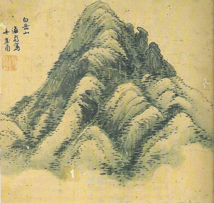 (Korea) Mt Baekak by Gyeomjae Jeong Seon (1676-1759). color on paper. Gansong gallery, Seoul. 백악산. 겸재 정선. 간송미술관