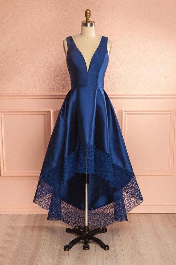 d552ec88cfe Hot Sale Morden Prom Dresses High Low Deep Blue V Neck High Low Lace ...