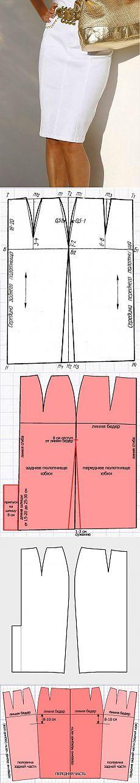 Falda lápiz con costura lateral, cosido a la derecha en la figura.