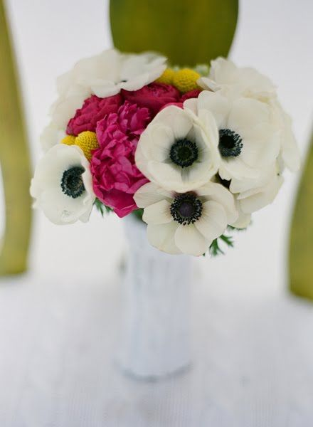 gorgeous florals by JL designsWhite Anemones, Colors Combos, White Poppies, White Flower, Bright Pink, Billy Ball, Cozy Winter, Winter Wedding, Floral Arrangements