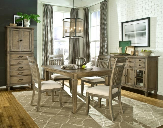 Brownstone Village Dining Set With Leg Table And Slat Back Side Chairs By Legacy Classic