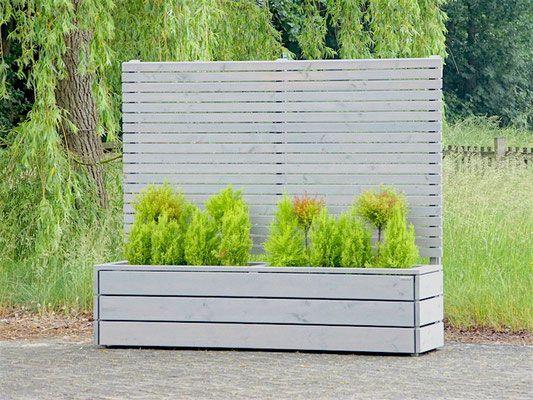 Pflanzkasten Holz lang mit Sichtschutz - Element, Transparent Grau