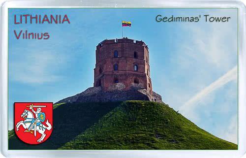 Acrylic Fridge Magnet: Lithuania. Vilnius. Gediminas Tower