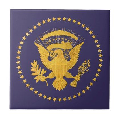 Gold Presidential Seal on Blue Ground Tile - gold gifts golden customize diy