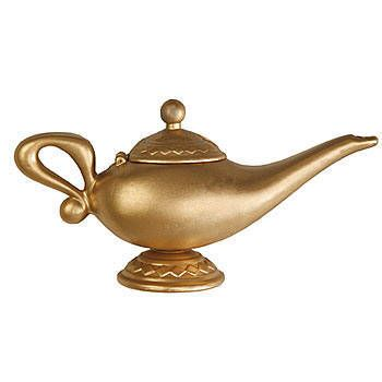 Our Genie Lamp is gold in color and has an open and close lid complete with a pour spout.