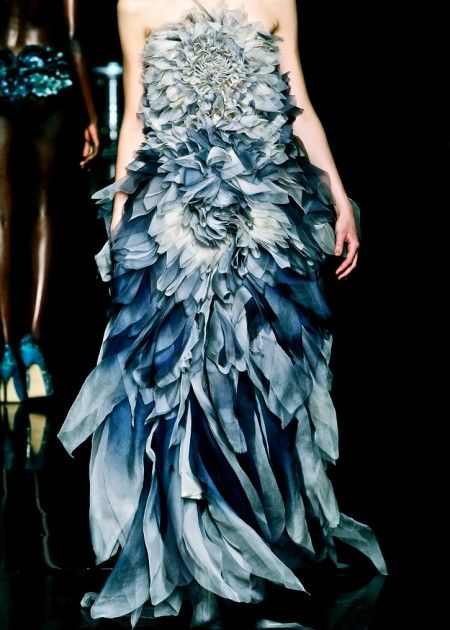 Nature inspired dress with a beautiful use of fabric manipulation to create sumptuous, tonal blue petal textures - wearable art; flower fashion