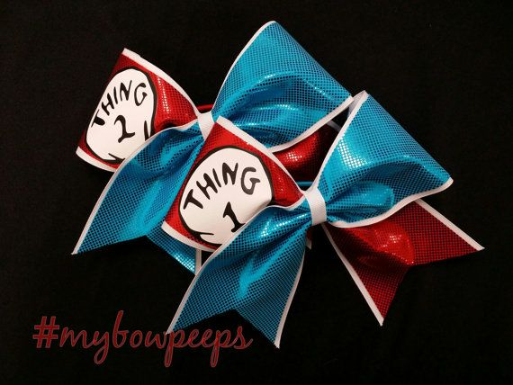 Cheer Bow Thing 1 & 2 Cheer Bow Set by MyBowPeeps on Etsy