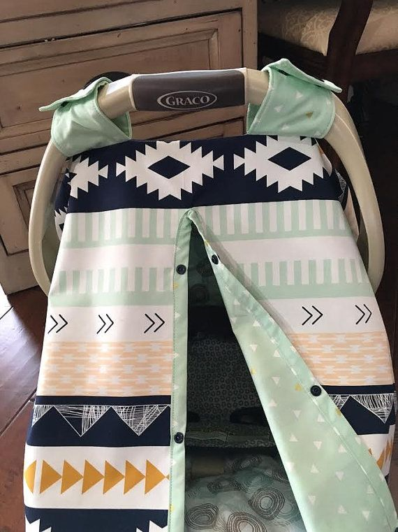 Tribal Aztec Baby Carseat Cover  Navy Light Green by kitcarsonblue