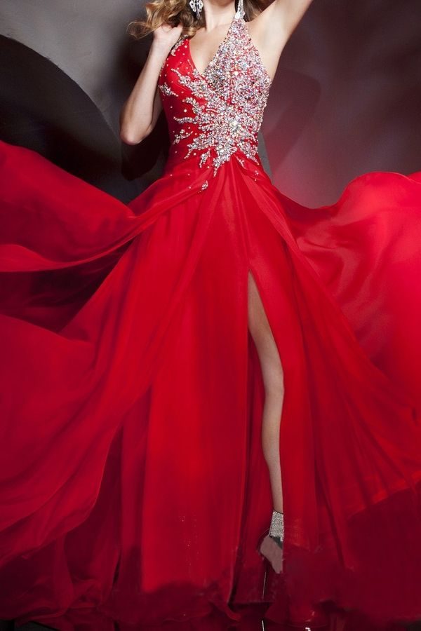2015 New Arrival Halter A Line Beaded Long Prom Dress With Slit Sexy USD 159.99 LCPE7KCQNS at PromSelling.com