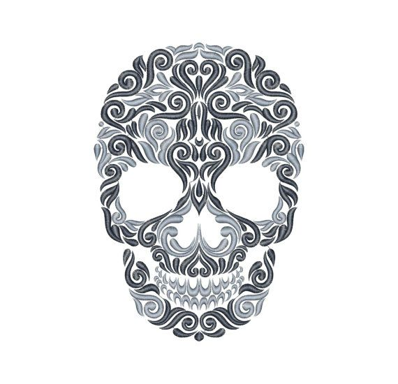 Skull Machine Embroidery Design Instant Download Six
