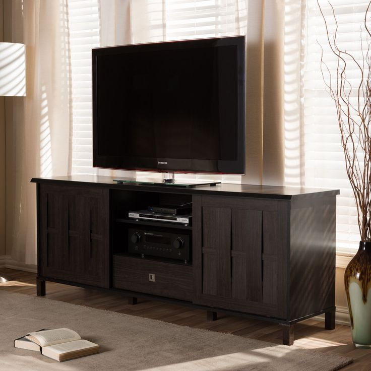 baxton studio tapp 70inch dark brown wood tv cabinet with 2 sliding doors