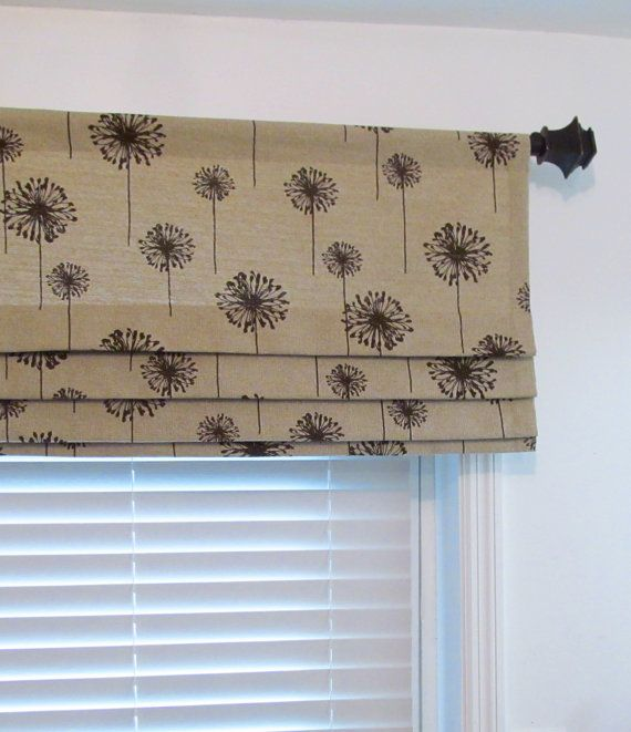 Dandelion Lined Faux Roman Shade Black Beige Denton Mock Valance Custom Sizing Available Faux