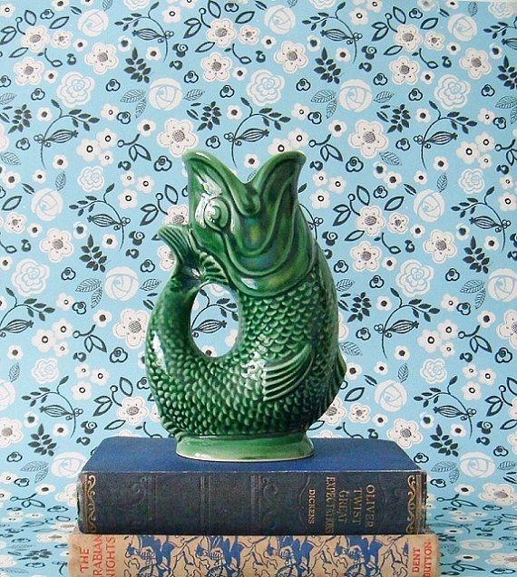 Vintage green gurgling koi fish vase pitcher vintage for Koi fish vase