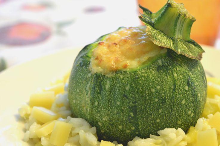 zucchine tonde ripieno di riso #zucchine #riso