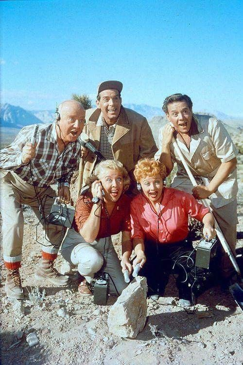 Lucille Ball, Desi Arnaz, William Frawley, Vivian Vance and Fred MacMurray in The Lucy Desi Comedy Hour episode Lucy Hunts Uranium.