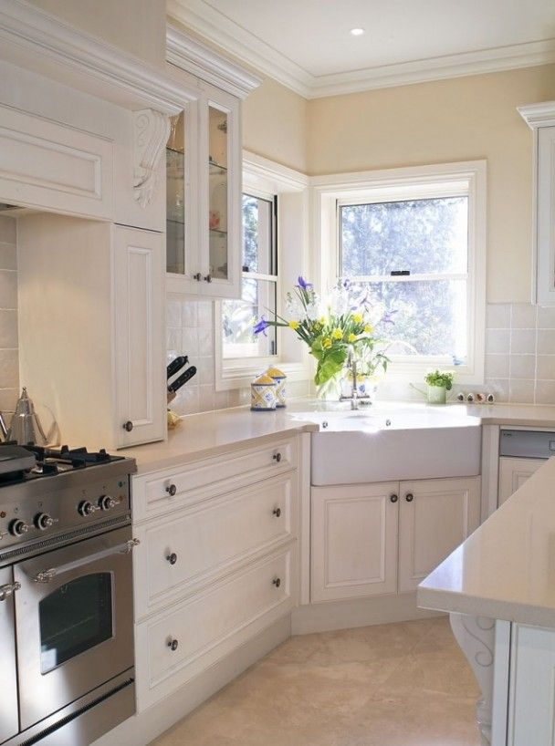 Corner sink and beautiful joinery | Dream Kitchen | Pinterest ...