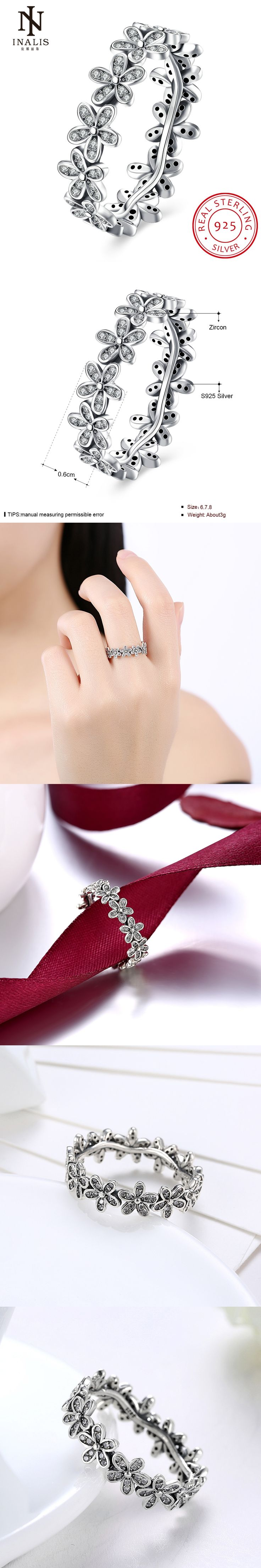 INALIS 2017 New Arrival Wholesale Cheap Silver Color Popular Flower Finger Ring Fashion Wedding Jewelry 3 Size