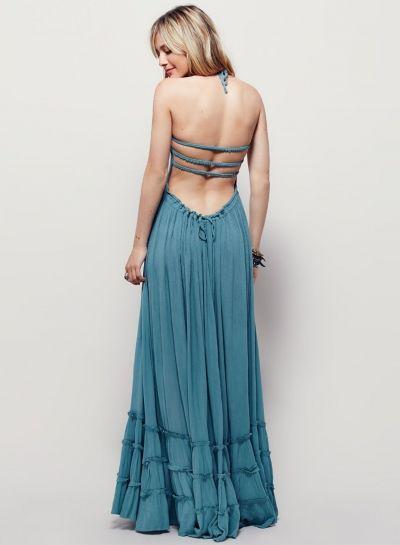 Boho Halter Backless Maxi Dress - OASAP.com