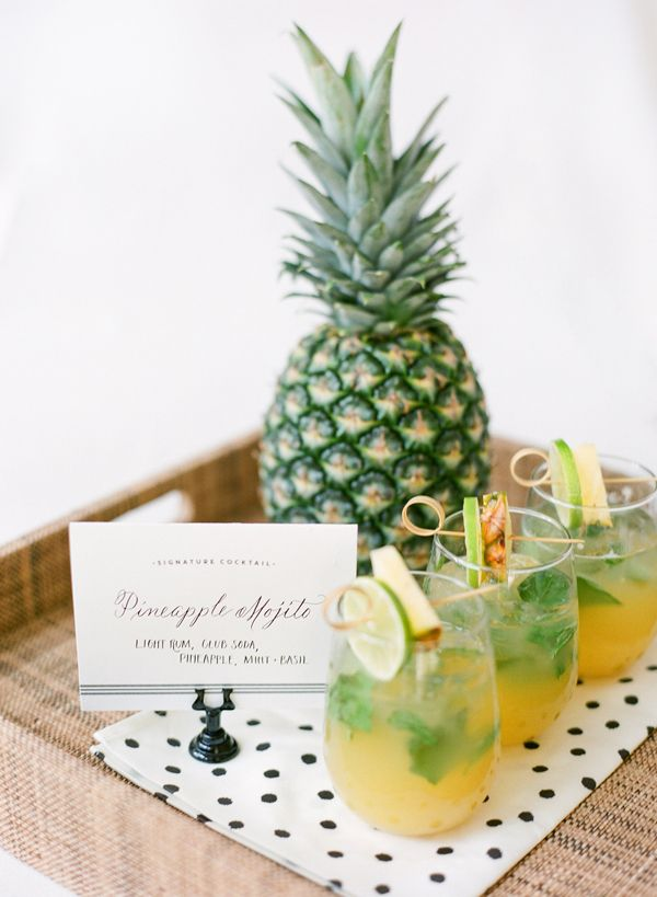 Specialty cocktails for your wedding day from PPHG | Pineapple Mojitos with light rum, club soda, pineapple and micro basil | Southern wedding inspiration | The William Aiken House in Charleston, South Carolina | Photo by KT Merry