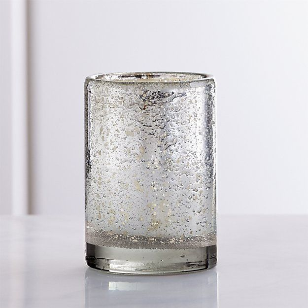 Bubbled Silver Glass Votive Candle Holder | Crate and Barrel