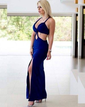f036e98fa Vestido Longo Decote e Abertura na Barriga em Tranças com Fenda na Perna  (cor Azul) - Taynara Melo
