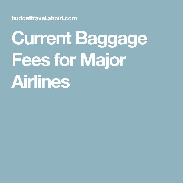 Current Baggage Fees for Major Airlines