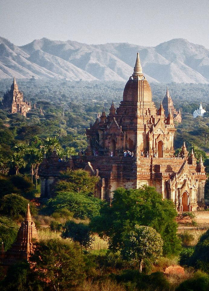 This literally looks straight out of a movie, unreal. Buddhist Pagodas in the ancient city of Bagan, Bagan, Myanmar [Formerly Burma]
