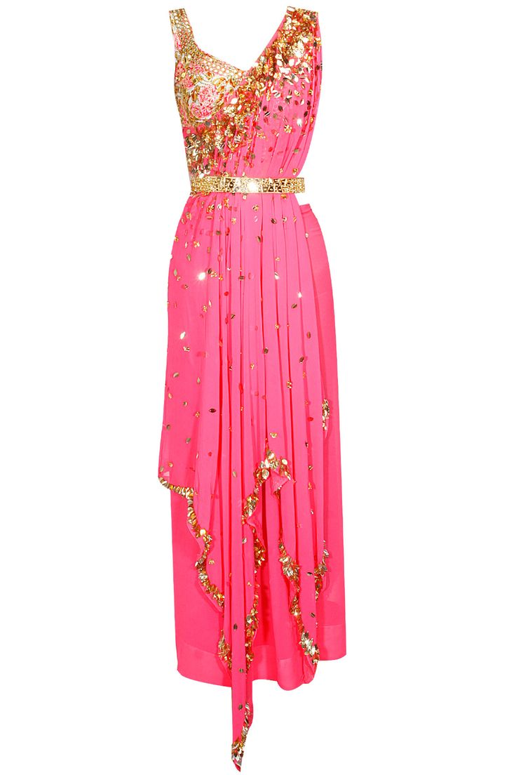 Hot pink laser cut mirror work tunic with floral embroidered blouse available only at Pernia's Pop Up Shop.#designer #fashion #HappyShopping #love #shopnow #papadontpreach #festive #new #perniaspopupshop