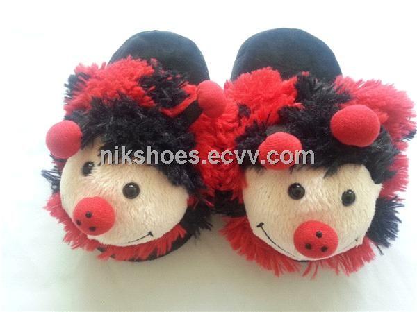 Kids Plush Slippers with Animal Ladybug Styles (DG01) - China Porcelain Animal;slippers;animal slippers, NIK