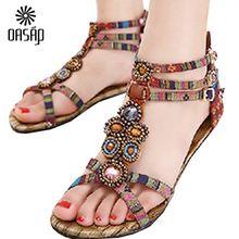 OASAP 2016 Nieuwe Romeinse Zomer Platte Sandalen Plus Size 41 Flip Vrouwen Boho Bejeweled Enkelbandjes Geknikte Zomer Platte Sandals-67093(China (Mainland))
