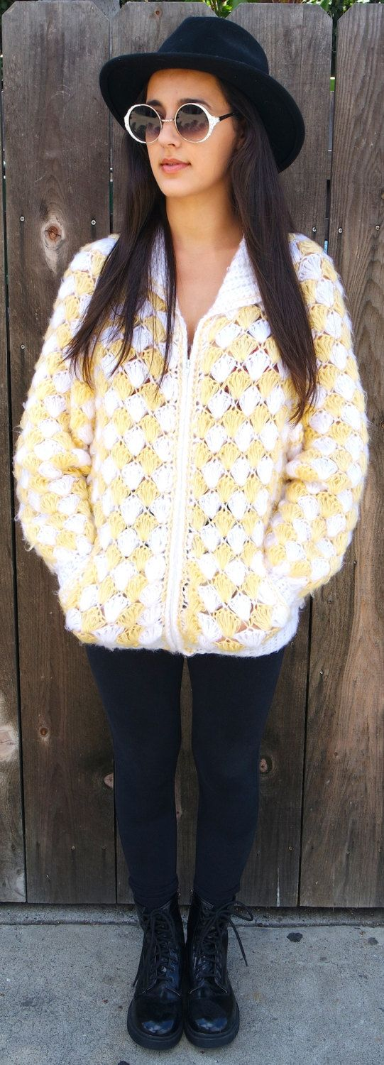 Vintage mens womens handmade yellow and white knitted zip up oversized sweater crochet pearl fluffy soft shell pattern festival winter 70s by VELVETMETALVINTAGE on Etsy