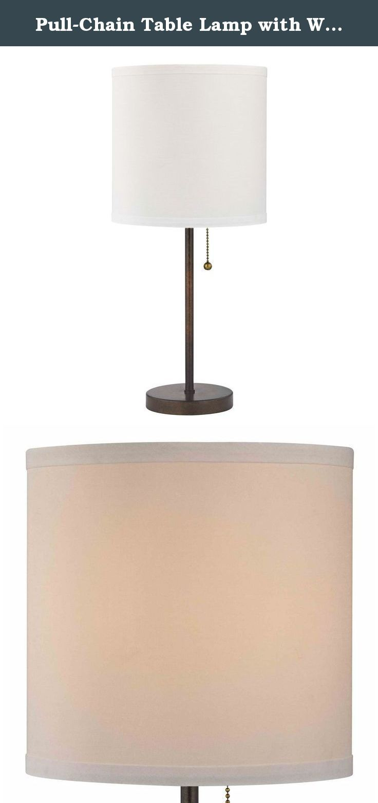 Pull-Chain Table Lamp with White Drum Shade in Bronze Finish. Modern Remington bronze finish table lamp with pull-chain and a white linen drum lamp shade.Includes An Adapter Kit To Allow For Easy Conversion Of A Recessed Light To A Pendant DL # 452180.
