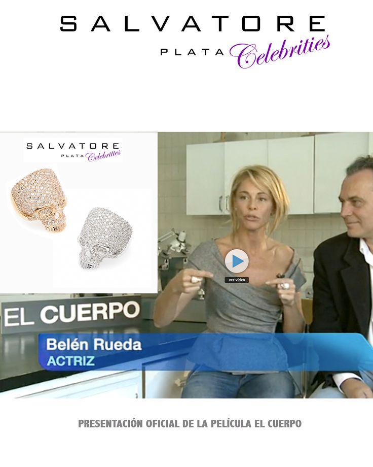 La actriz y presentadora de televisión española Belén Rueda con los anillos calavera de Salvatore Plata. Ver más coleccion en www.salvatore.es