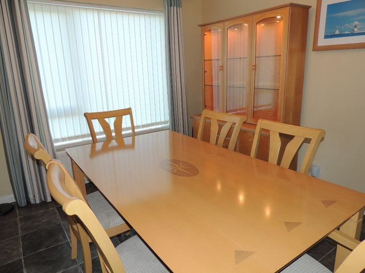 Beech Dining Room Table 6 Chairs & Display Cabinet For Sale