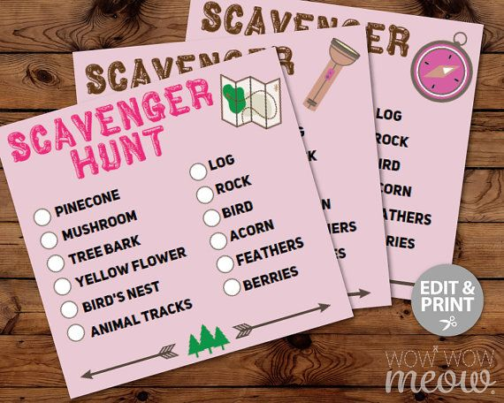 Glamping Camping Scavenger Hunt Cards Birthday Party Activity Editable INSTANT DOWNLOAD Sheet Girls Pink Game Search Woods Printable Kids