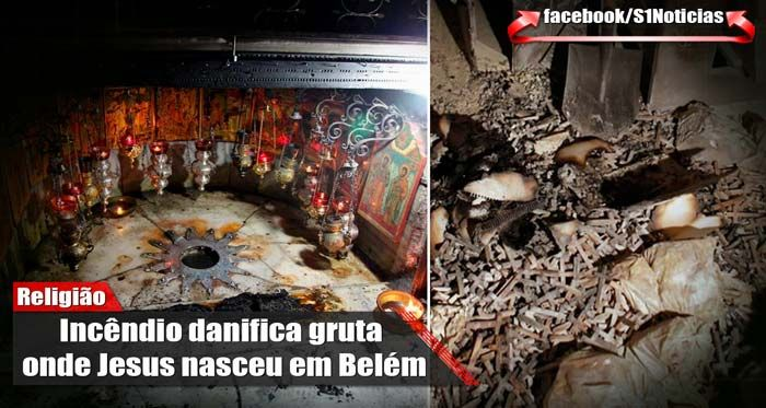 Incêndio danifica gruta onde Jesus nasceu em Belém