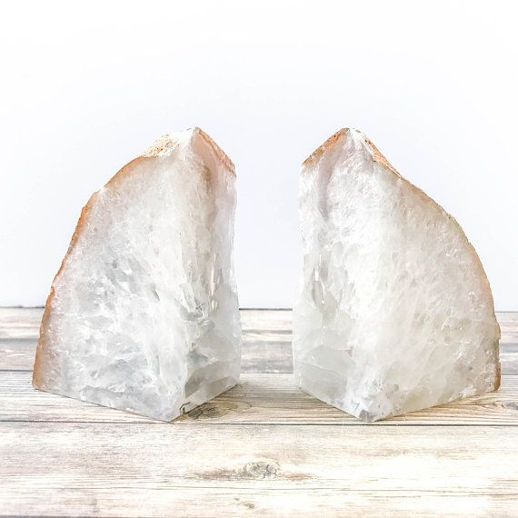 Agate Bookends Geode Bookends Natural Stone Book Ends White Etsy Geode Bookends Agate Bookends Bookends