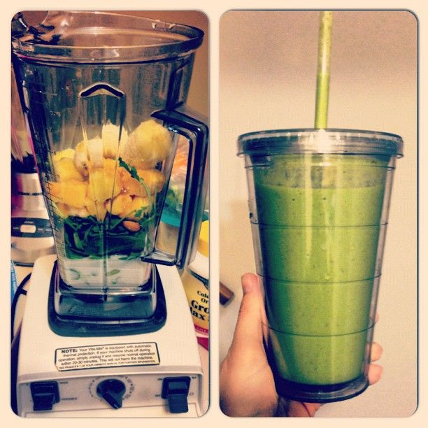 Here is my after workout meal: almond milk-kale-spinach-mango-pineapple-banana-almonds-honey by @keepinitthrifty on Instagram