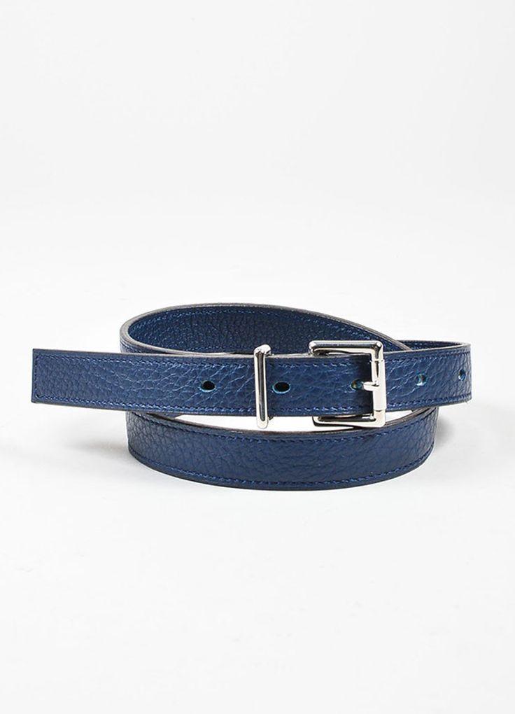 Navy Blue Hermes Pebbled Leather Silver Toned Hardware Skinny Belt