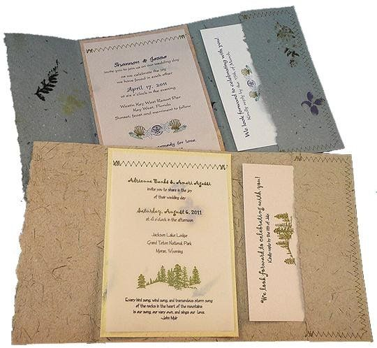 I really like the idea of using recycled paper for the invites. They are Eco friendly and some of the papers are very beautiful, especially these ones with flowers in them.