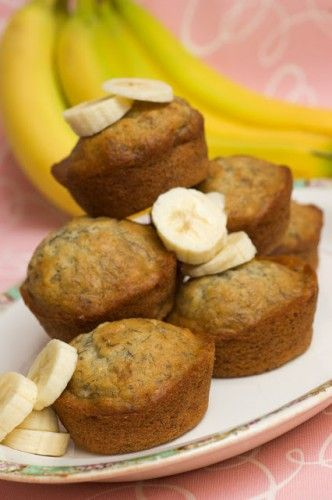 Banana Muffins, for next time I have ripe bananas, instead of making a loaf, substitute egg with apple sauce and butter with vegan butter.