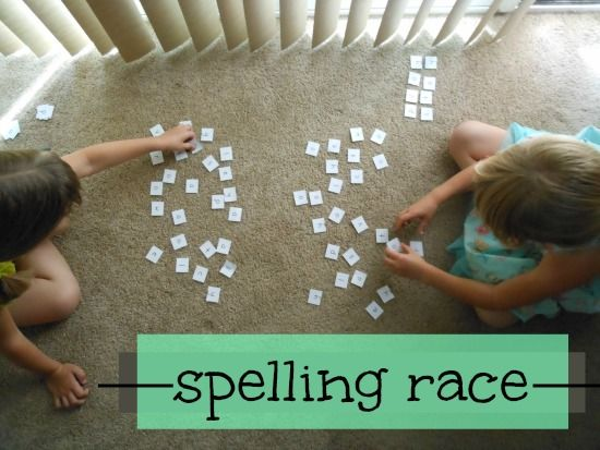 Spelling race - great for practicing spelling: I like the tips for setting this up for different levels of spellers