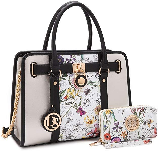 642d7be12b6 Dasein Women's Two Tone Designer Satchel Handbags Padlock Purses ...