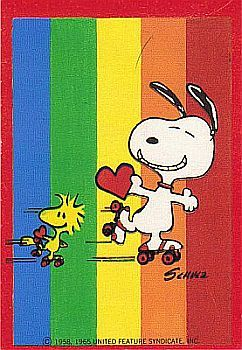 Snoopy, Rainbows and Rollerskates! Picture on my Birthday Cake # Rollerskating Party Texas# loved it! # hot pink shorts