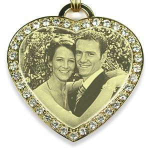 Large diamante gold plate heart photo pendant