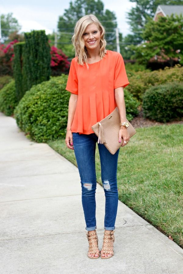 Pleats + hot orange = summer perfection. As a general rule, pair your looser blouse with a form-fitting bottom, like a dark wash skinny. Elongate your lower half with a neutral pair of heeled sandals.